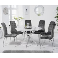 Carter 120cm Round White Marble Table with Calgary Velvet Chairs - Green, 4 Chairs