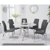 Carter 120cm Round White Marble Table with Cavello Chairs - Black, 4 Chairs