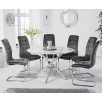 Carter 120cm Round White Marble Table with Lorin Velvet Chairs - Grey, 4 Chairs