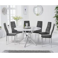 Carter 120cm Round White Marble Table with Melissa Chairs - Grey, 4 Chairs