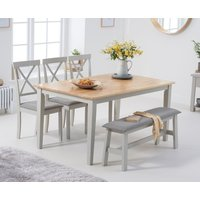 Product photograph showing Chiltern 150cm Oak And Grey Table With 2 Epsom Chairs With Grey Fabric Seats And 1 Bench