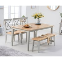 Chiltern 150cm Oak and Grey Table with Epsom Chairs and Bench - Oak and Grey, 2 Chairs