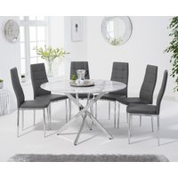 Carter 120cm Round White Marble Table with Catalina Chairs - Grey, 4 Chairs