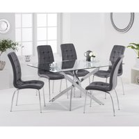 Product photograph showing Denver 160cm Rectangular Glass Dining Table With Calgary Velvet Chairs - Grey 4 Chairs