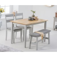 Product photograph showing Chiltern 114cm Oak And Grey Table With 2 Chiltern Chairs With Grey Fabric Seats And 1 Bench