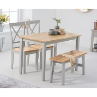 Chiltern 114cm Oak and Grey Table with Epsom Chairs and Bench - Oak and Grey, 2 Chairs