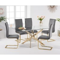 Product photograph showing Denver 160cm Gold Leg Glass Dining Table With Malaga Velvet Chairs - Blue 4 Chairs