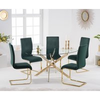 Denver 165cm Oval Gold Leg Glass Dining Table with Malaga Velvet Chairs - Blue, 4 Chairs