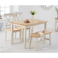 Chiltern 114cm Oak and Cream Table with Epsom Chairs and Bench - Cream, 2 Chairs
