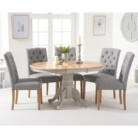 Product photograph showing Ex-display Epsom Oak And Grey Pedestal Extending Dining Table With Six Claudia Grey Fabric Dining Chairs