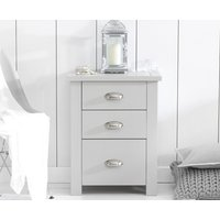 Product photograph showing Somerset Grey Tall 3 Drawer Bedside Table