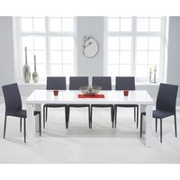 Read more about Atlanta 200cm white high gloss dining table with atlanta stackable chairs - grey- 6 chairs