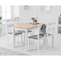 Read more about Chiltern 114cm oak and white table with chiltern chairs with grey fabric seats - white- 4 chairs