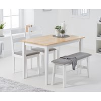 Product photograph showing Chiltern 114cm Oak And White Table With 2 Chiltern Chairs With Grey Fabric Seats And 1 Bench