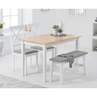 Read more about Chiltern 114cm oak and white table with 2 epsom chairs with grey fabric seats and 1 bench