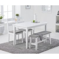 Read more about Chiltern 114cm white table with chiltern chairs with grey fabric seats and bench - white- 2 chairs