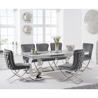 Hepburn 200cm Marble Dining Table with Giovanni Velvet Chairs - Grey, 6 Chairs