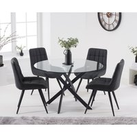 Mara 120cm Round Glass Dining Table with Heidi Chairs - Brown, 4 Chairs