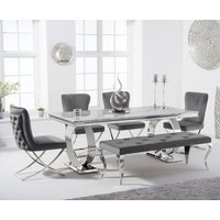 Hepburn 180cm Marble Dining Table with Giovanni Velvet Chairs and Fitzrovia Bench - Grey, 2 Chairs