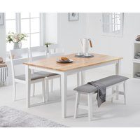 Product photograph showing Chiltern 150cm Oak And White Table With 2 Chiltern Chairs With Grey Fabric Seats And 1 Bench