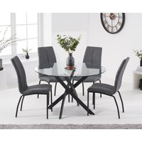 Mara 120cm Round Glass Dining Table with Antique Noir Chairs - Grey, 4 Chairs