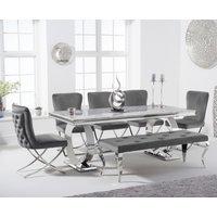 Hepburn 200cm Marble Dining Table with Giovanni Velvet Chairs and Fitzrovia Bench - Grey, 2 Chairs