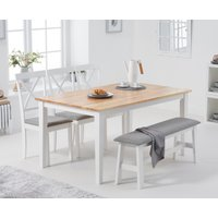 Chiltern 150cm Oak and White Table with Epsom Chairs with Grey Fabric Seats and Bench - Oak and White, 4 Chairs