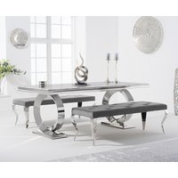 Hepburn 200cm Marble Dining Table with Fitzrovia Velvet Benches