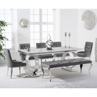Hepburn 200cm Marble Dining Table with Talia Velvet Chairs and Fitzrovia Bench - Grey, 2 Chairs