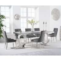 Hepburn 200cm Marble Dining Table with Talia Velvet Chairs - Grey, 6 Chairs