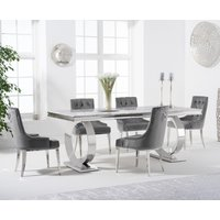 Hepburn 180cm Marble Dining Table with Talia Velvet Chairs - Grey, 6 Chairs
