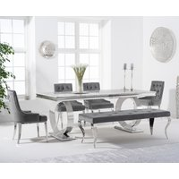 Hepburn 180cm Marble Dining Table with Talia Velvet Chairs and Fitzrovia Bench - Grey, 2 Chairs