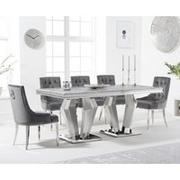 Viscount 180cm Marble Dining Table with Talia Velvet Chairs - Grey, 6 Chairs