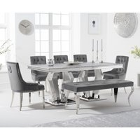 Viscount 180cm Marble Dining Table with Talia Velvet Chairs and Fitzrovia Bench - Grey, 2 Chairs
