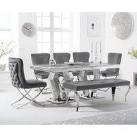 Viscount 180cm Marble Dining Table with Giovanni Velvet Chairs and Fitzrovia Bench - Grey, 2 Chairs