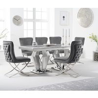 Viscount 180cm Marble Dining Table with Giovanni Velvet Chairs - Grey, 6 Chairs