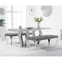 Viscount 180cm Marble Dining Table with Fitzrovia Velvet Benches