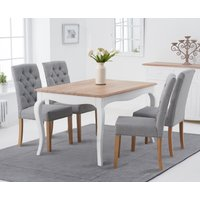 Product photograph showing Parisian 130cm Shabby Chic Dining Table With Claudia Fabric Chairs - Grey 4 Chairs
