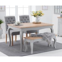 Parisian 130cm Grey Shabby Chic Dining Table with Claudia Grey Fabric Chairs and Bench - Grey, 2 Chairs
