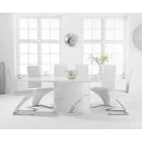 Colby 200cm Oval White Marble Dining Table with Hampstead Chairs - Ivory, 6 Chairs