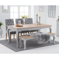 Product photograph showing Parisian 175cm Grey Shabby Chic Dining Table With Claudia Fabric Chairs And Benches - Grey 2 Chairs