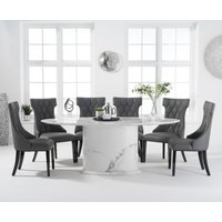 Colby 200cm Oval White Marble Dining Table with Freya Chairs - Grey, 6 Chairs
