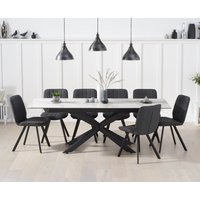 Boston 180cm White Ceramic Extending Dining Table with Dexter Faux Leather Chairs - Brown, 6 Chairs