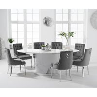 Colby 200cm Oval White Marble Dining Table with Talia Velvet Chairs - Grey, 6 Chairs