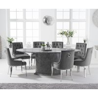 Colby 200cm Oval Grey Marble Dining Table with Talia Velvet Chairs - Grey, 6 Chairs