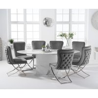 Colby 200cm Oval White Marble Dining Table with Giovanni Velvet Chairs - Grey, 6 Chairs