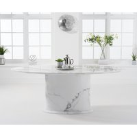 Colby 200cm White Oval Marble Dining Table