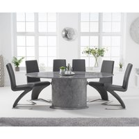 Colby 200cm Oval Grey Marble Dining Table with Hampstead Chairs - Black, 6 Chairs