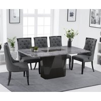 Mario 180cm Light Grey Marble Dining Table with Angelica Faux Leather Dining Chairs - Grey, 6 Chairs