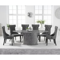 Colby 200cm Oval Grey Marble Dining Table with Freya Chairs - Grey, 6 Chairs